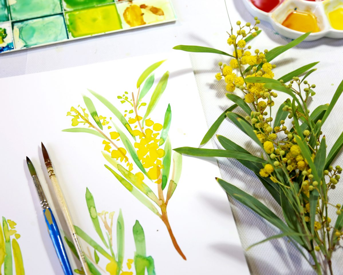 Botanical painting of a branch with yellow flowers