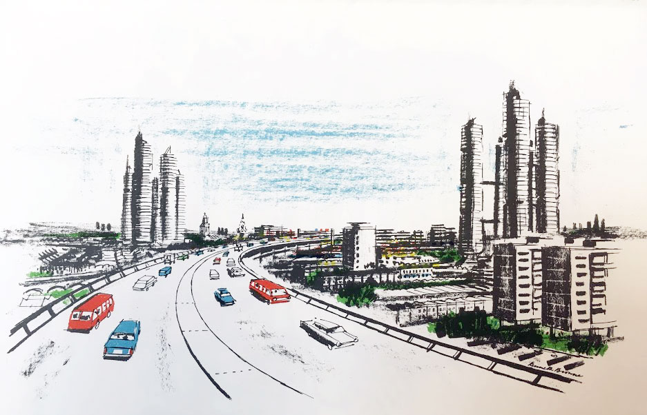 Artist's impression of the South Cross Route of the motorway through Brixton from Brixton Town Centre, London Borough of Lambeth