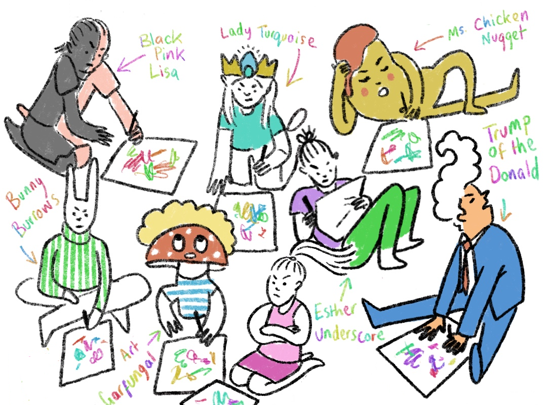 An illustration of different characters drawing