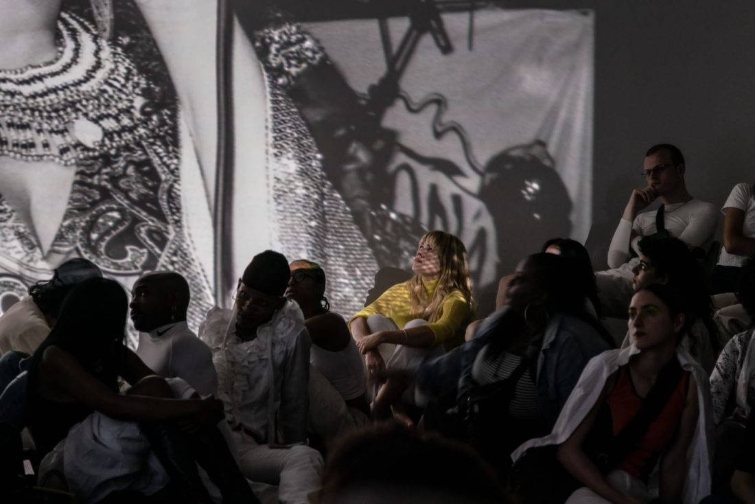 <p>Liz Johnson Artur and Tori Handsley performance in the Clore Studio.<br /> Photo: Sam Nightingale.</p>