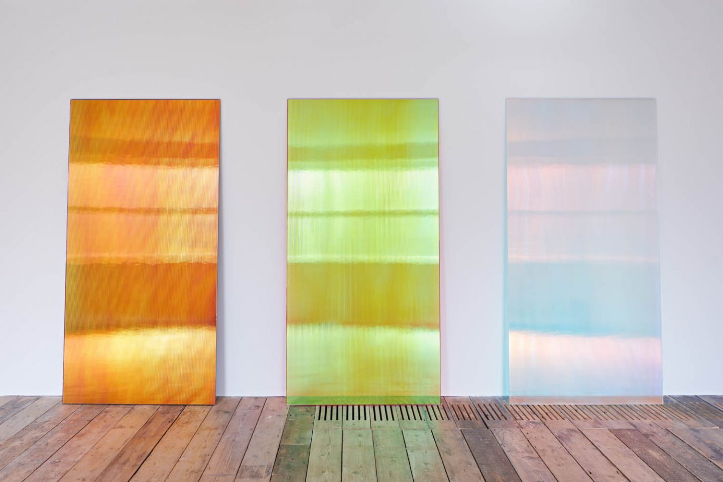 Ann Veronica Janssens at the South London Gallery Installation view of CL2BK, 2015; Pinky Sunset R, 2019; and CL2 Blue Shadow, 2015 (left to right) Photo: Andy Stagg