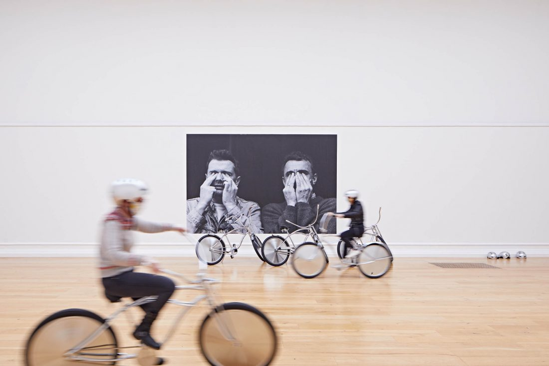 <p>Visitors enjoy <em>Bikes, </em>2001 by Ann Veronica Janssens in the SLG&#8217;s Main Gallery. Photo: Andy Stagg</p>