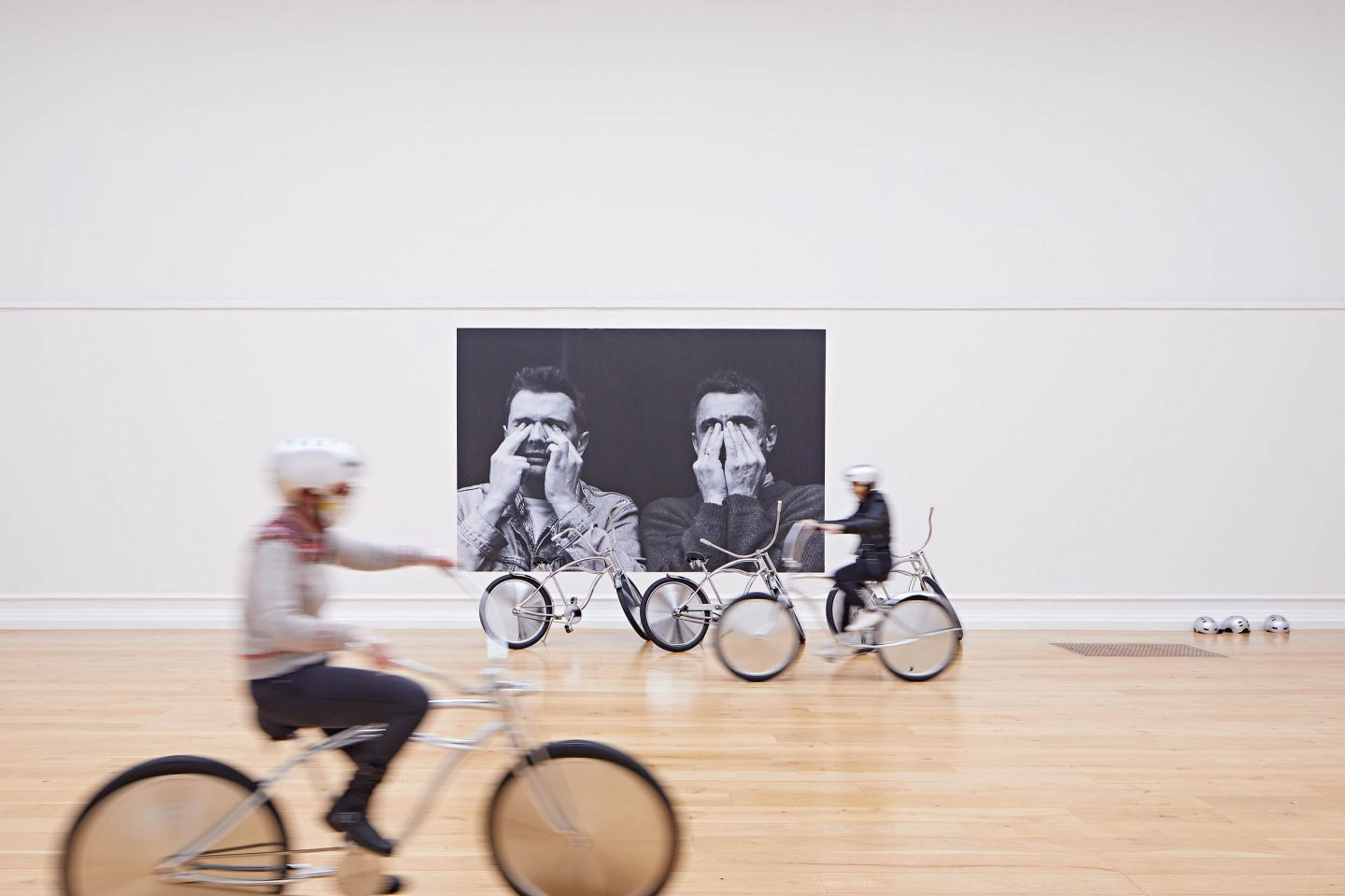 Ann Veronica Janssens at the South London Gallery Installation view of Bikes, 2001 and Phosphènes, 1997–2018 (left to right) by Ann Veronica Janssens Photo: Andy Stagg