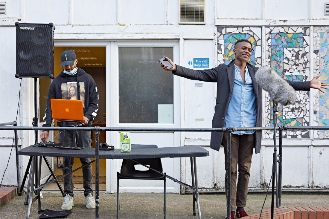 <p>Dario Jade Blake and collaborator Dominic Clementine live DJ set on Pelican Estate. Photo: Andy Stagg</p>