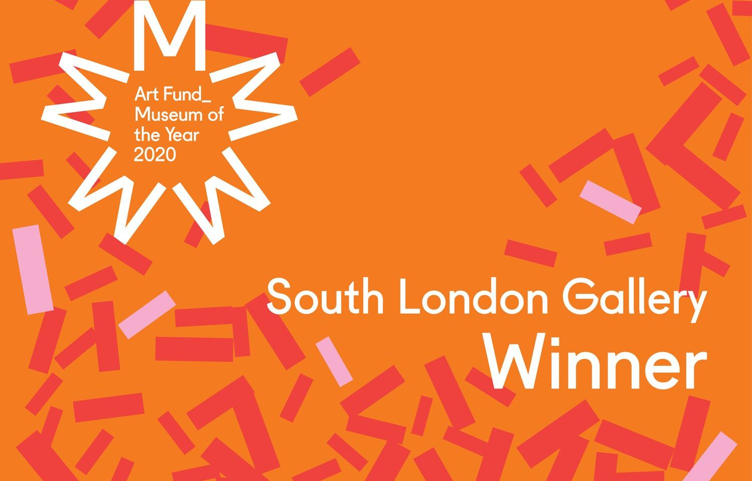 Art Fund Museum of the Year South London Gallery Winner graphic with confetti