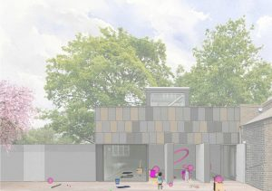 Illustration of the Clore Studio from outside showing hula hoops and balls in action to create the Play space commission