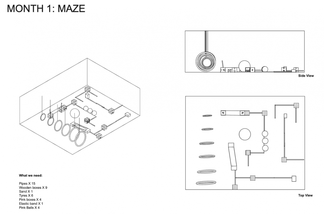 <p>Diagram of the 'Maze' components installed in the Clore Studio</p>