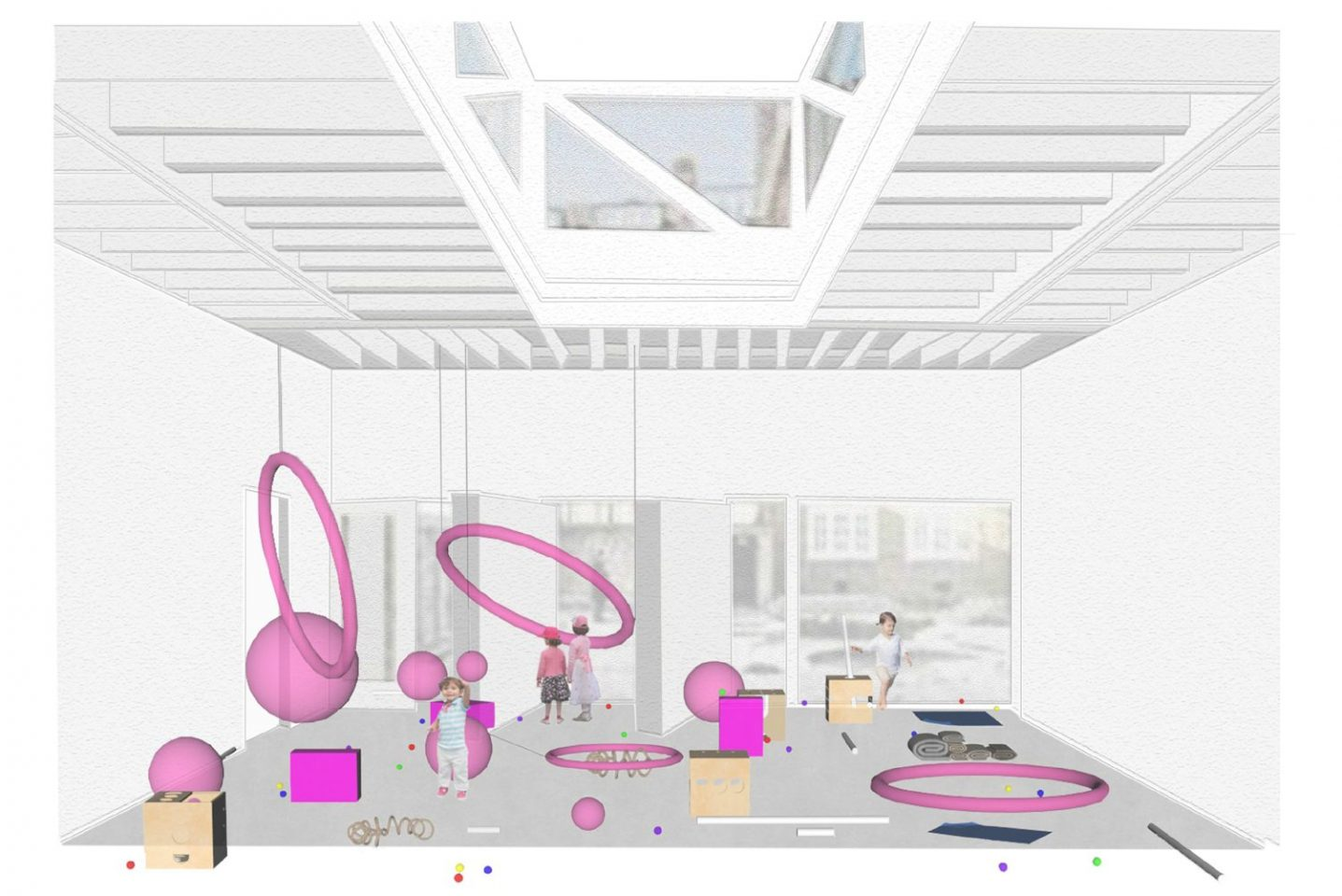 Illustration of the Clore Studio showing suspended hula hoops from the ceiling and balls on the floor to give the impression of a solar system