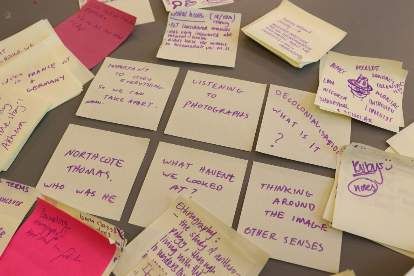 Post it notes with thoughts and observations from a session exploring the Northcote Thomas Archive