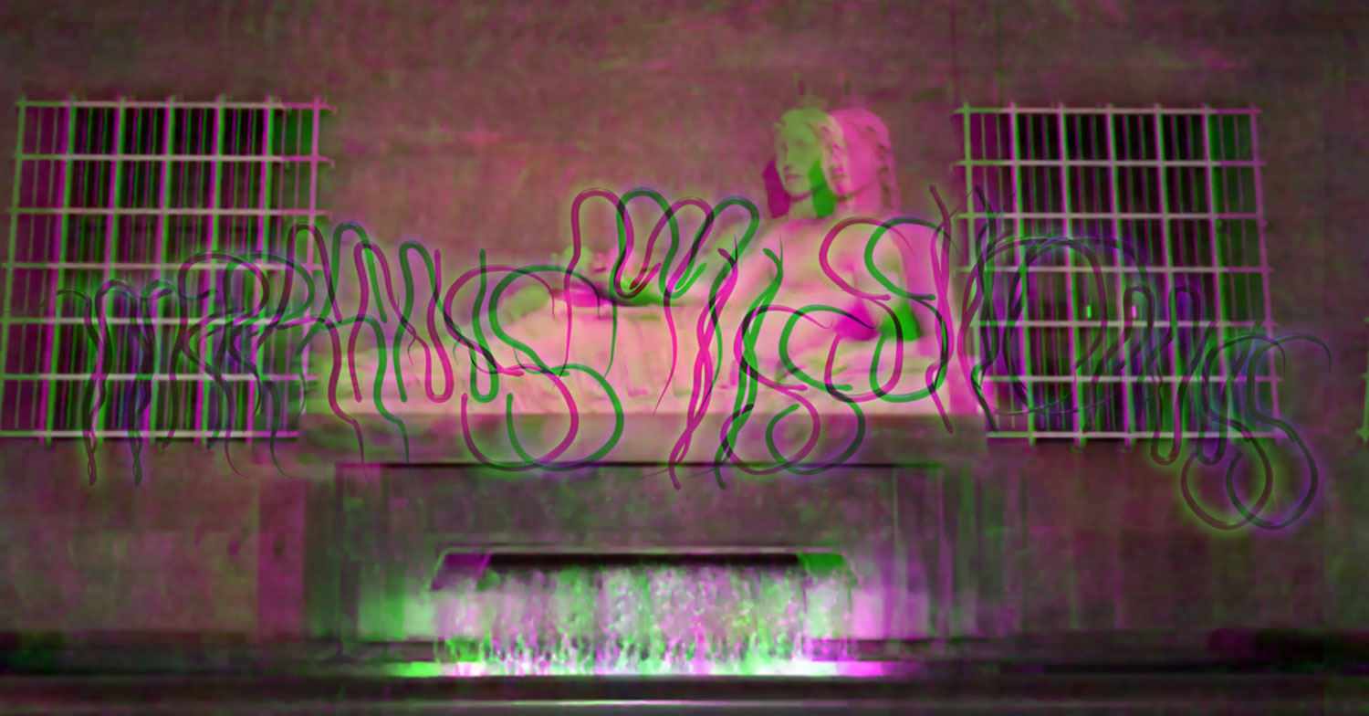 Blurry holographic animation with the word Transmissions spelled in snake-like letters