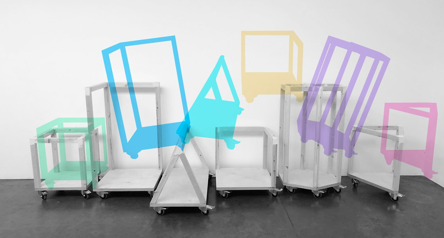 White trolleys with brightly coloured graphics hovering above them